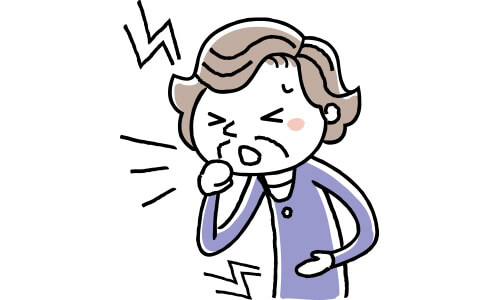頭痛と腹痛がある女性