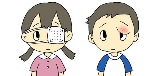 目が腫れている少年少女