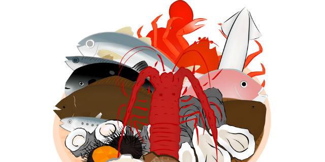 海魚や甲殻類