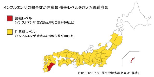 インフルエンザの報告数が注意報・警報レベルを超えた都道府県