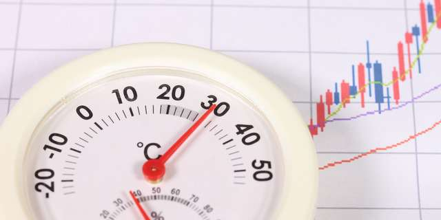 室温計と上昇する気温
